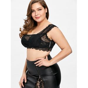 Plus Size Mesh Insert Lace Crop Top -