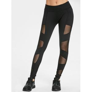 Semi Sheer Mesh Panel Leggings for Yoga -