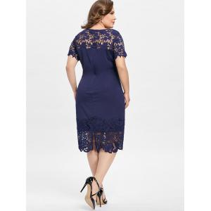 Plus Size Lace Panel Knee Length Pencil Dress -