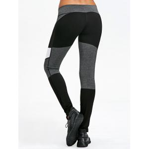 Mesh Panel Color Block Fitted Leggings -