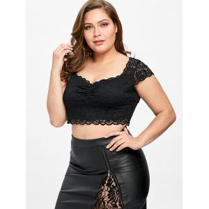... Plus Size Sweetheart Neck Lace Crop Top ...