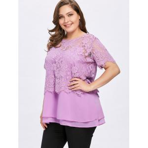 Plus Size Lace and Tiered Twinset Tops -