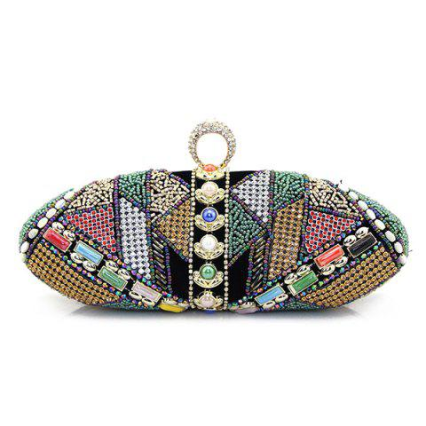 Chic Crystal Beading Faux Pearl Clutch