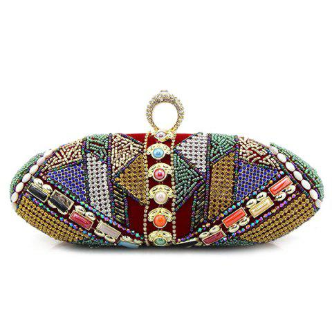 Affordable Crystal Beading Faux Pearl Clutch
