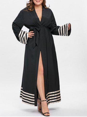 Robe Longue à Rayures Contrastantes Grande Taille