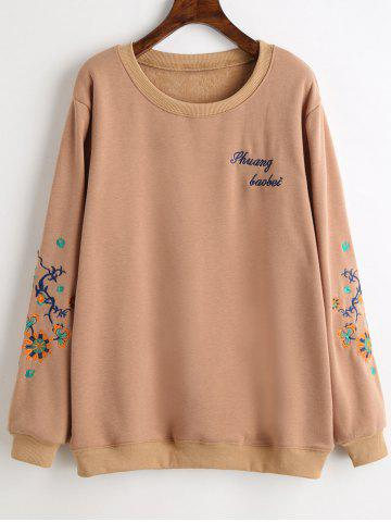 Outfit Plus Size Graphic Fleece Lined Embroidered Sweatshirt