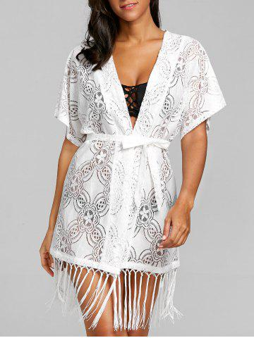 Cheap Crochet Open Front Fringed Cover Up Top
