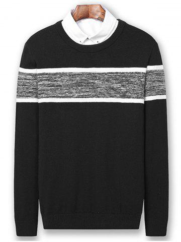 Best Color Block Panel Pullover Sweater