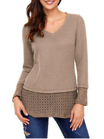 Fancy V Neck Crochet Trimmed Knit Top