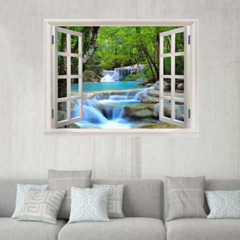 Window Forest Stream 3D Pattern Wall Sticker For Bedroom