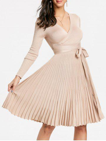 Outfit V Neck Knit Pleated Dress