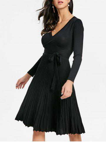 Discount V Neck Knit Pleated Dress