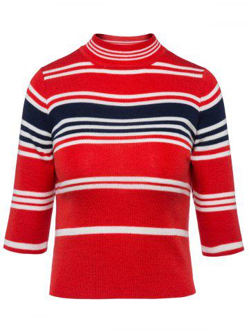 Hot Stripe High Neck Cropped Sweater