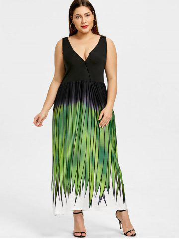 Plus Size Grass Print Plunging Maxi Dress