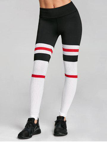 Outfits Openwork Stripe Contrast Workout Leggings