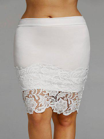 Shops Plus Size Lace Hem Fitted Skirt