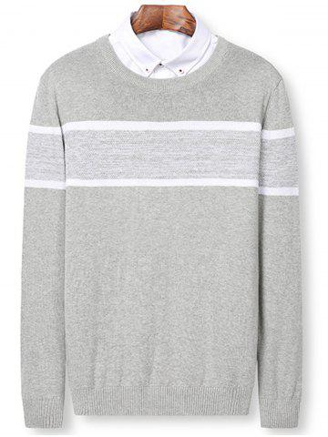 Fancy Color Block Panel Pullover Sweater