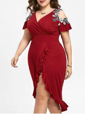 Affordable Plus Size Cold Shoulder Midi Dress