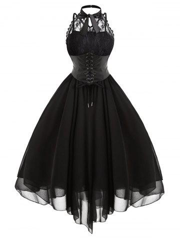 Outfit Cross Back Lace Panel Gothic Corset Dress