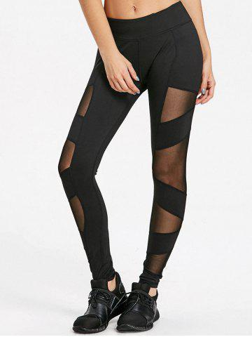 Trendy Semi Sheer Mesh Panel Leggings for Yoga