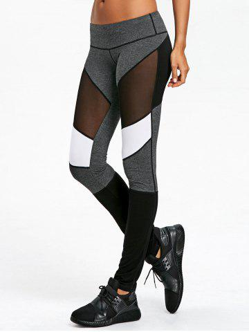 Sale Mesh Panel Color Block Fitted Leggings