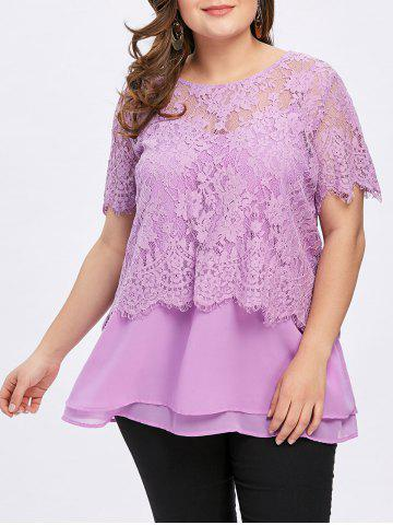Store Plus Size Lace and Tiered Twinset Tops