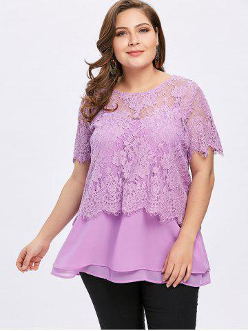 Plus Size Lace and Tiered Twinset Tops