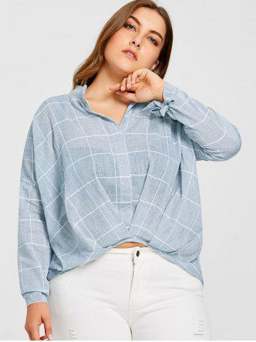 Trendy Grid High Low Plus Size Blouse