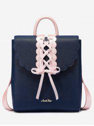 Faux Pearl Bow Criss Cross Backpack -