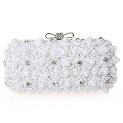 Lace Faux Pearl Rhinestone Flower Evening Bag -