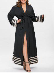 Stripe Contrast Plus Size Maxi Robe Dress -