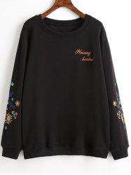 Plus Size Graphic Fleece Lined Embroidered Sweatshirt -