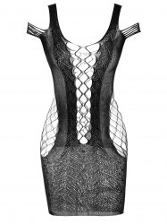Cold Shoulder Crochet Mini Mesh Lingerie Dress -