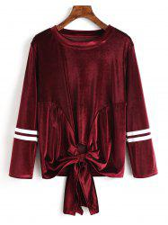 Bowknot Hem Striped Velvet Sweatshirt -