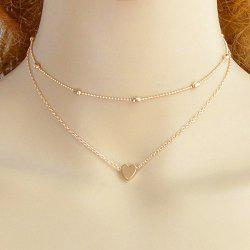 Layered Heart Collarbone Two Piece Necklace Set -