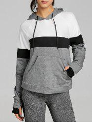Drawstring Workout Color Block Hoodie -
