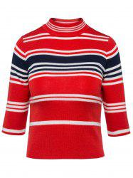 Stripe High Neck Cropped Sweater -