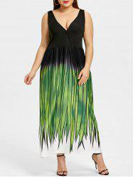 Plus Size Grass Print Plunging Maxi Dress -