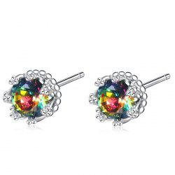 Rhinestone Floral Sparkly Tiny Stud Earrings -