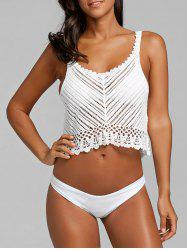 Crochet Lace Crop Cover Up Top -