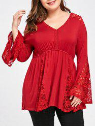 Plus Size V Neck Bell Sleeve Top -