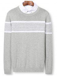 Color Block Panel Pullover Sweater -
