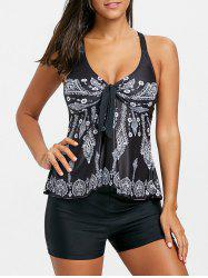 Ethnic Print Cross Back Tankini Set -