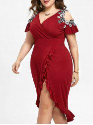 Plus Size Cold Shoulder Midi Dress -