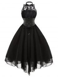 Cross Back Lace Panel Gothic Corset Dress -