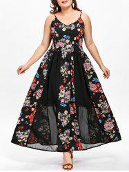 Plus Size Bohemian Floral Flowing Slip Dress -