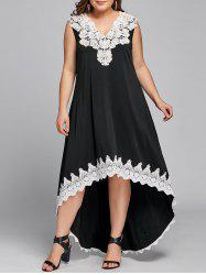 Robe Style Haut-Bas Sans Manches Grande-Taille -