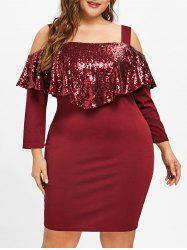 Plus Size Cold Shoulder Sequins Capelet Dress -