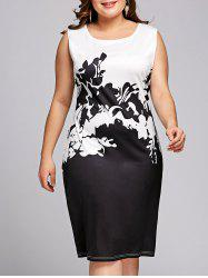 Plus Size Two Tone Graphic Sleeveless Dress -