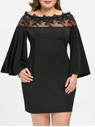 Plus Size Lace Mesh Panel Off Shoulder Dress -